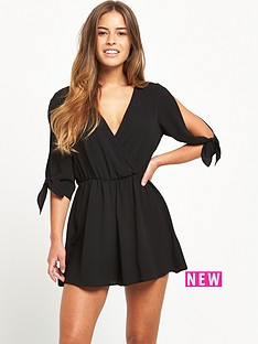 miss-selfridge-miss-selfridge-petite-black-lace-playsuit-with-knot-sleeves