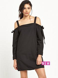 miss-selfridge-black-bardot-poplin-dress