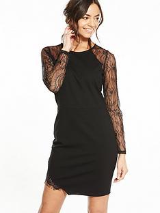 miss-selfridge-cutabout-lace-insertnbspdress-black