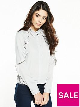 miss-selfridge-petite-frill-shirt-grey