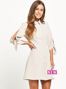 miss-selfridge-petite-grey-shirt-dress