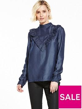 miss-selfridge-chambray-ruffle-blouse
