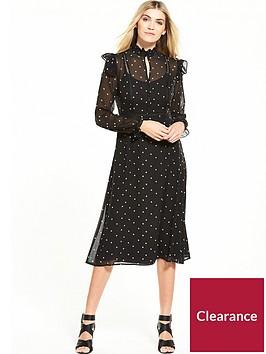miss-selfridge-printed-frill-midi-dress