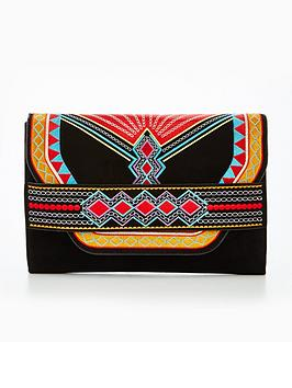 v-by-very-aztec-embroidered-clutch