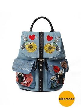 river-island-embroidered-amp-stud-detail-backpack