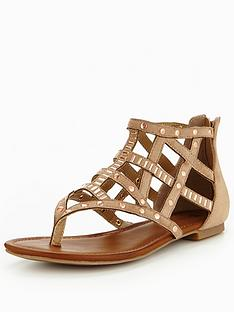 v-by-very-north-caged-stud-flat-sandal-taupe