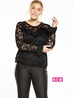 so-fabulous-fluted-sleeve-lace-top
