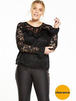 v-by-very-curve-fluted-sleeve-lace-top