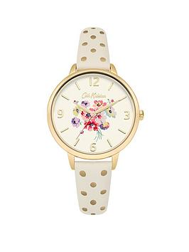 cath-kidston-mallory-bunch-off-white-photo-printed-dial-cream-amp-gold-spot-strap-ladies-watch