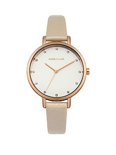 karen-millen-karen-millen-white-sunray-dial-cream-pearlised-leather-strap-ladies-watch