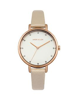 karen-millen-white-sunray-dial-cream-pearlised-leather-strap-ladies-watch