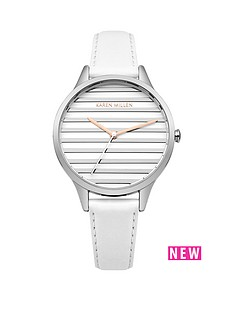 karen-millen-satin-amp-brushed-silver-stripe-dial-white-leather-strap-ladies-watch