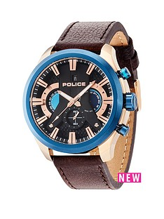 police-cyclone-blue-bezel-rose-tone-accents-brown-leather-strap-mens-watch
