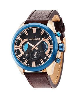 police mens watches gifts jewellery very co uk police cyclone blue bezel rose tone accents brown leather strap mens watch