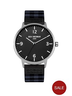 ben-sherman-black-dial-check-grey-amp-navy-fabric-strap-mens-watch