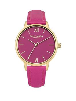 daisy-dixon-tara-glossy-pink-dial-pink-leather-strap-ladies-watch