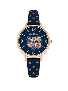 cath-kidston-windflower-bunch-navy-photo-print-dial-navy-amp-rose-gold-strap-ladies-watch
