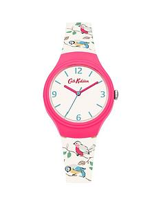 cath-kidston-cath-kidston-little-birds-off-white-matt-dial-printed-bird-graphic-silicone-strap-ladies-watch