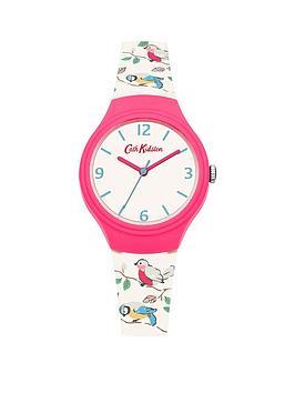 cath-kidston-little-birds-off-white-matt-dial-printed-bird-graphic-silicone-strap-ladies-watch