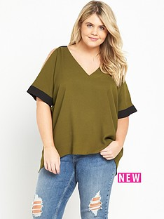 ri-plus-cold-shoulder-v-neck-top