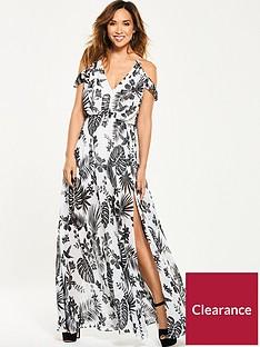 Myleene Klass Cold Shoulder Tropical Maxi Dress 77bcd5845