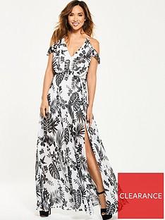 f536e4ebd3a Myleene Klass Cold Shoulder Tropical Maxi Dress