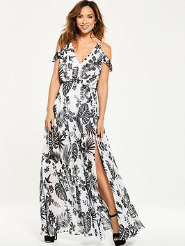Myleene Klass Cold Shoulder Tropical Maxi Dress