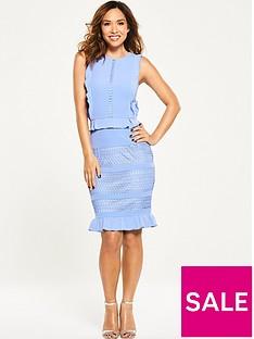 myleene-klass-ruffle-front-lace-pencil-dress