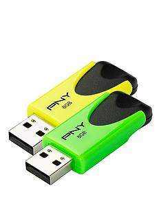 pny-n1-attacheacute-twin-pack-of-8gb-usb-20-drives-green-amp-yellow