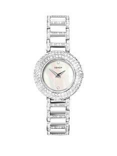 seksy-seksy-white-dial-stone-bezel-white-bracelet-ladies-watch
