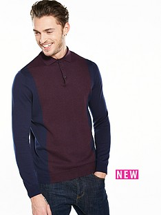 river-island-blocked-knitted-long-sleeve-polo
