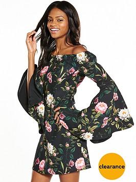 v-by-very-bardot-printed-fluted-sleeve-dress
