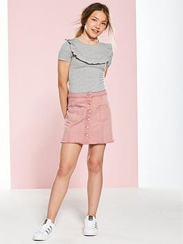 v-by-very-girls-button-front-mini-denim-skirt