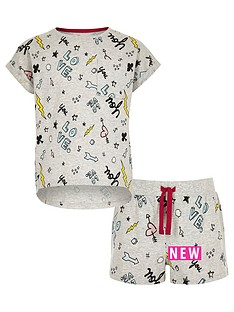 river-island-girls-grey-doodle-print-t-shirt-pyjama-set