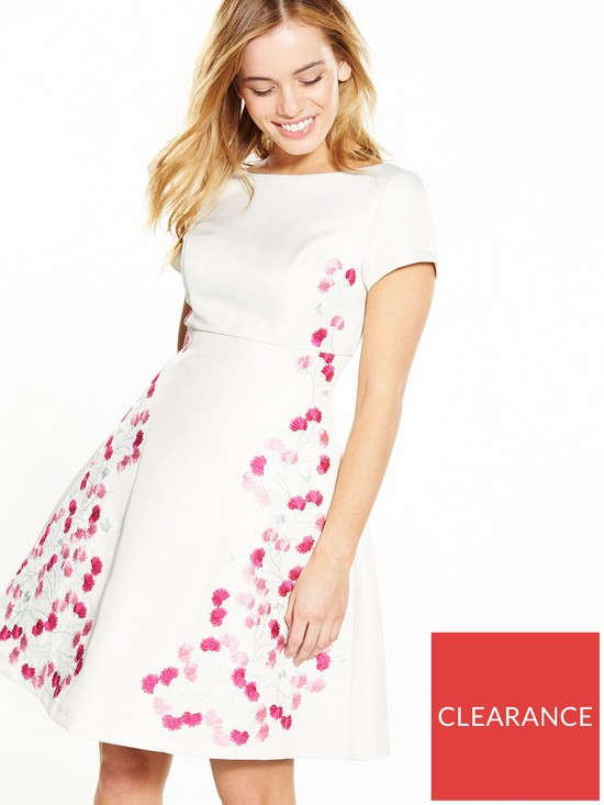 6527888414 Chi Chi London PETITE Embroidered Dress - Cream