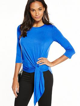v-by-very-three-quarter-sleeve-side-knot-top