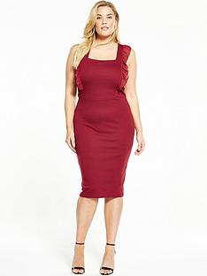 lost-ink-curve-curve-pinaforenbspbodycon-frill-sleeve-dress-red