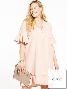 lost-ink-curve-curve-shift-dress-with-extreme-ruffle-sleeve-ndash-blush