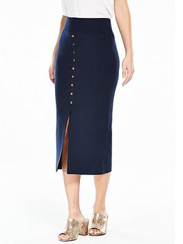 vero-moda-maine-knitted-split-skirt-navy