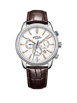 rotary-rotary-white-chronograph-silver-tone-case-brown-leather-strap-mens-watch