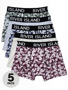 river-island-5pk-leaf-print-trunks