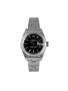 rolex-rolex-preowned-steel-datejust-black-baton-dial-reference-79160-ladies-watch