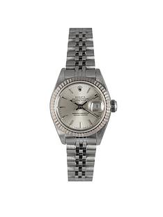 rolex-rolex-preowned-steel-datejust-silver-baton-dial-reference-69174-ladies-watch