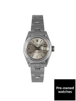 rolex-rolex-preowned-steel-datejust-silver-baton-dial-reference-69160-ladies-watch