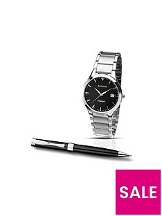 accurist-black-dial-stainless-steel-bracelet-watch-amp-pen-mens-gift-set