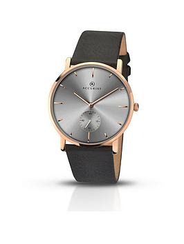 accurist-grey-dial-rose-tone-case-black-leather-strap-mens-watch