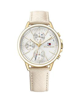 Tommy Hilfiger Carly Silver Tone Multi Dial Nude Leather Strap Ladies Watch, One Colour, Women thumbnail