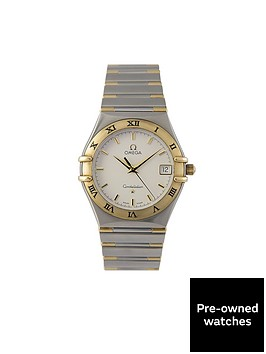 omega-omega-preowned-bimetal-constellation-quartz-silver-dial-ref-131230-mens-watch-with-original-papers