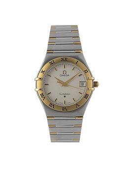 omega-omega-preowned-bimetal-constellation-quartz-silver-dial-ref-131230-mens-watch