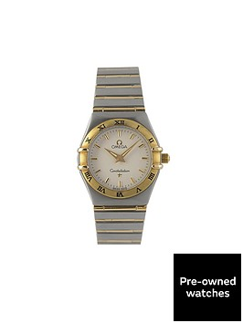 omega-omega-preowned-bimetal-ladies-constellation-quartz-silver-dial-ref-127230-mens-watch